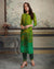 Green Color Festive Wear Printed Rayon Stylish Pant Suits