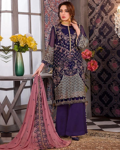 Dark Purple Color Unstitched Pakistani Palazzo Style Suits