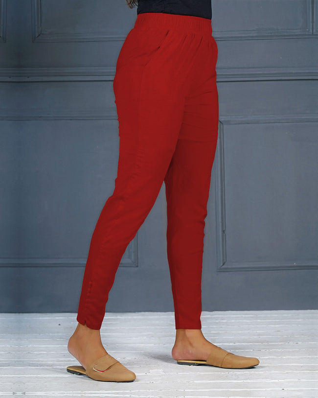 Red Solid Stretchable Narrow Fit Pant