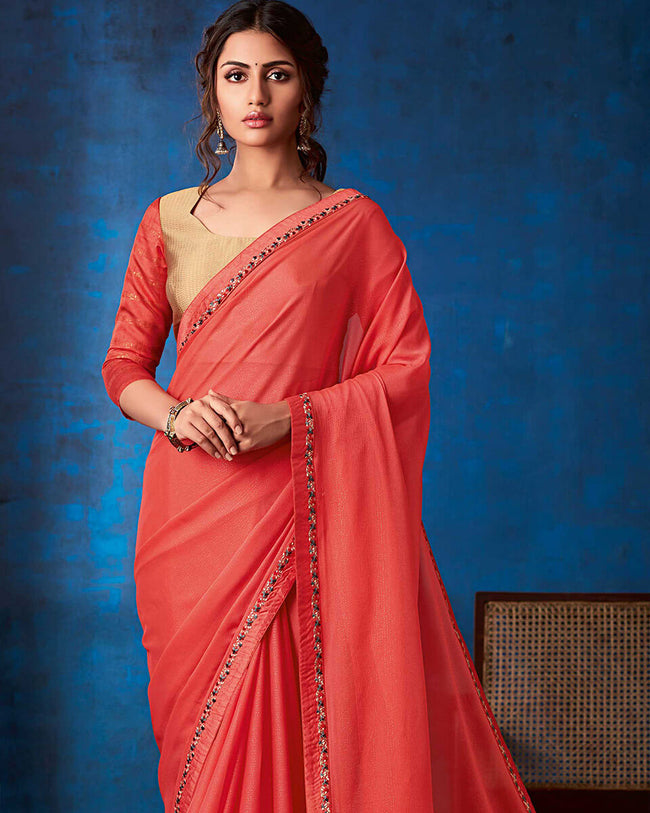 Light Red Color Fancy  Georgette With Lace Border Saree