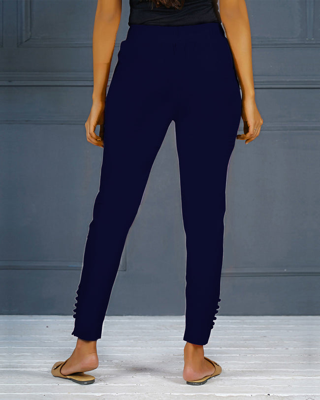 Navy Blue Solid Stretchable Narrow Fit Pant