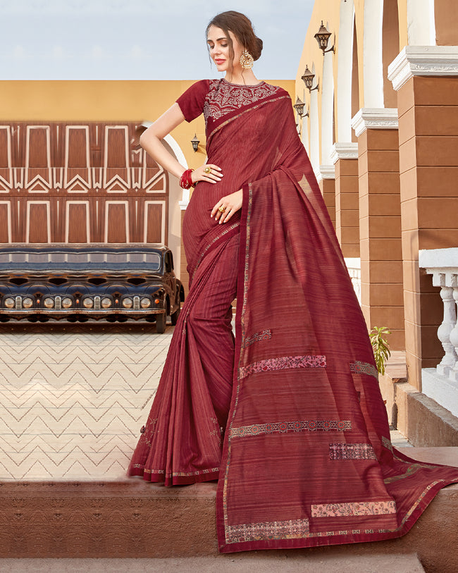 Sophisticated Maroon Color Georgette Embroidery Work Designer Saree