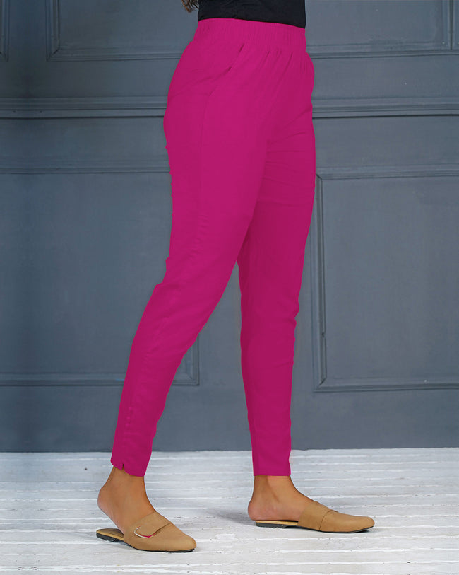 Magenta Pink Solid Stretchable Narrow Fit Pant