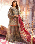 Amazing Grey Colored Bridal Wear Georgette Palazzo Suit