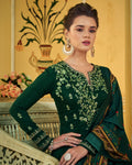 Green Colored Partywear Embroidered Muslin Palazzo Suit with  Digital Printed Dupatta