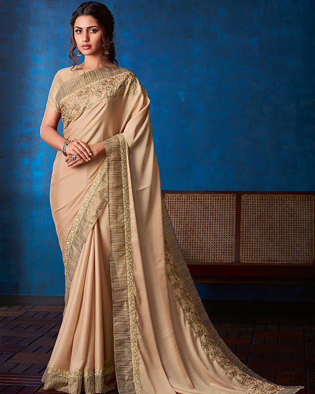 Beige Color Fancy  Georgette With Attractive Lace Border Saree