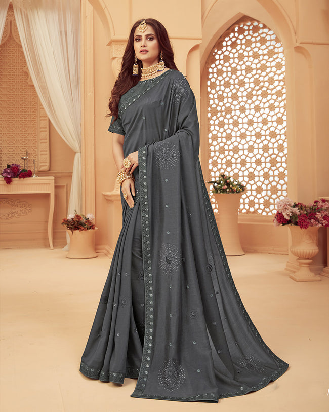 Dark Gray Color Fancy Embroidery Work Classic Designer Saree