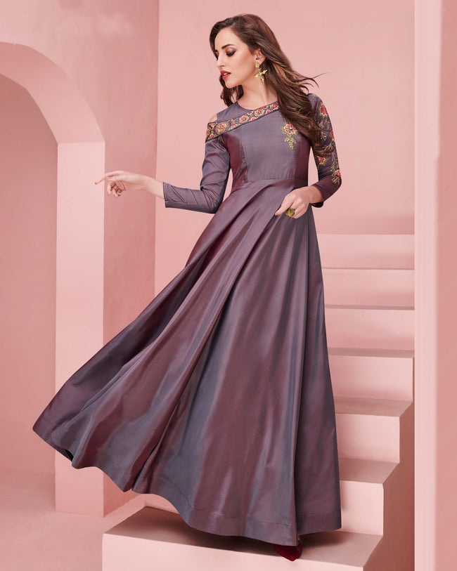 Purple Color Party Wear Embroidered Work Silk Gown