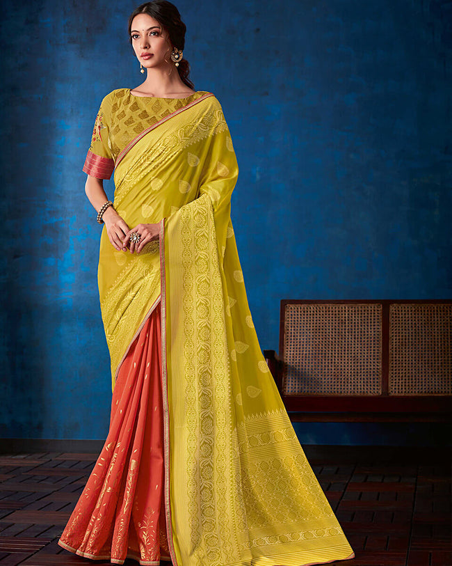 Lemon Yellow and Orange Color Fancy  Georgette With Attractive Lace Border Saree