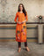 Orange Color Casual Wear Printed Rayon Stylish Pant Suits