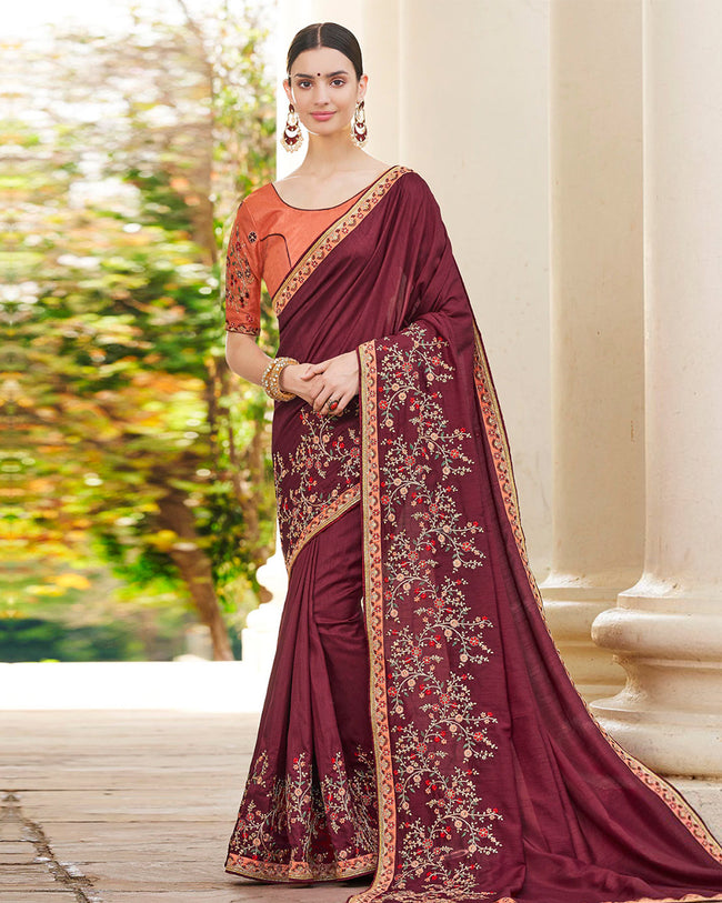 Maroon Color Festive Wear Silk Embroidery Work Saree With Orange Blouse