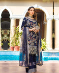 Dark Blue Colored Georgette Unstitched Pakistani Salwar Kameez Suits