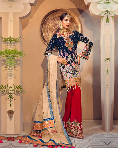 Black and Red Colored NETTED Unstitched Pakistani Salwar Kameez Suits