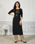 Black Color Casual Wear Rayon Slub Palazzo Suit