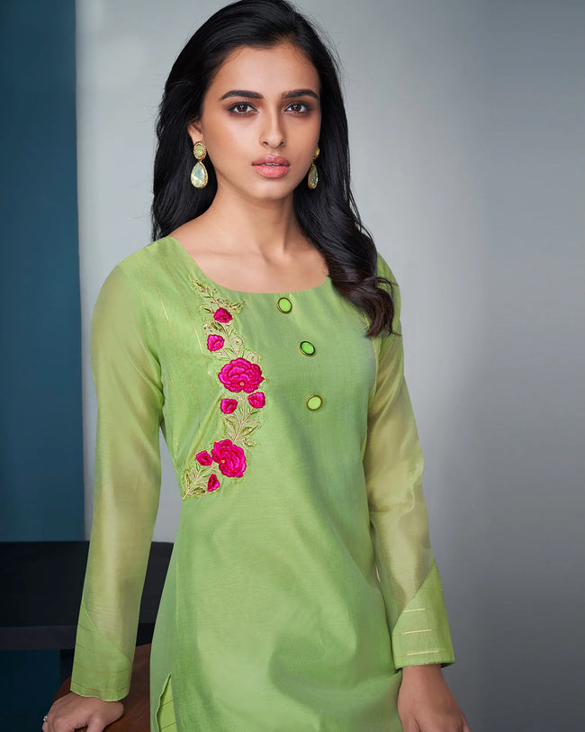 Green Color Festive Wear Silk Palazzo Style Suits