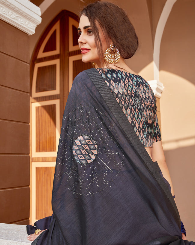 Dark Blue Color Pure Georgette Embroidery Work Saree with Printed Blouse