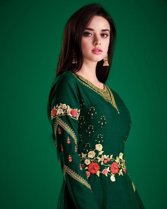 Dark Green Colored Partywear Embroidered Soft-Satin-Silk Gown