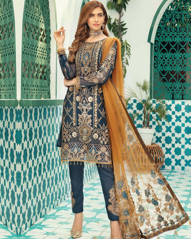 Navy Blue Color Unstitched Pakistani Pant Suits With Brown Dupatta