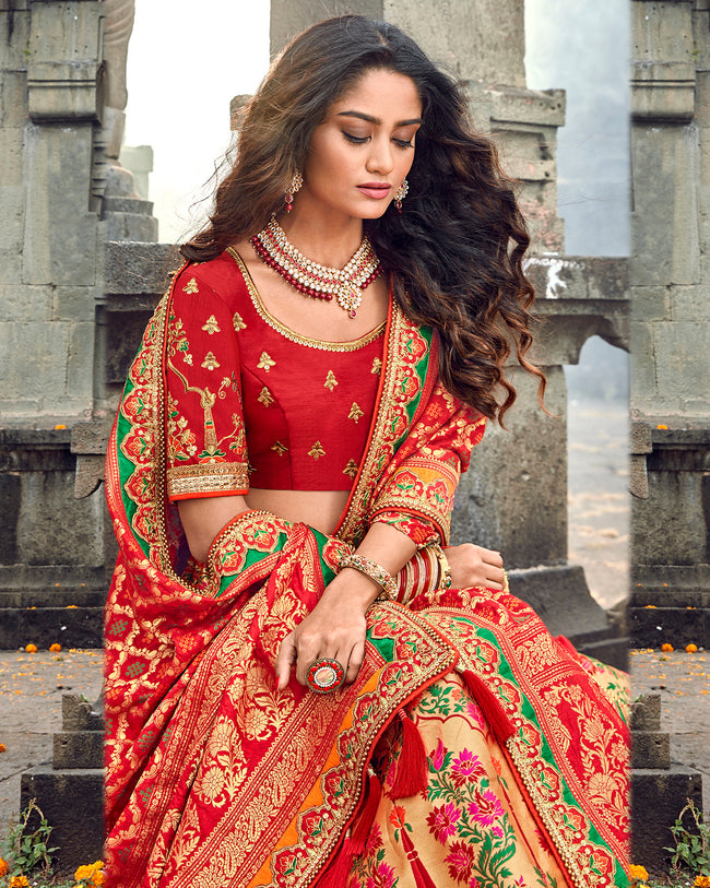 Red Color Bridal Wear Silk Thread Work Lehenga Choli