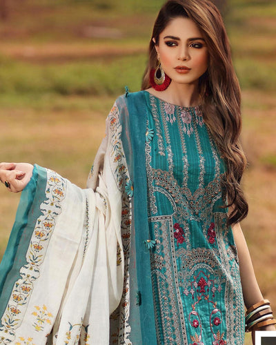 Teal Blue Color Ethnic Wear Cotton Lawn Pakistani Palazzo Suits (Made in India)