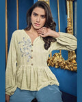 Off White-Blue Colored Casual Wear ReadyMade Palazzo Set
