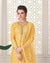 Yellow Colored Wedding Wear Semi Stitched Sharara Suit