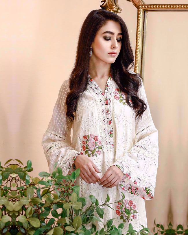 Glowing White Color Unstitched Pakistani Pant Style Suits