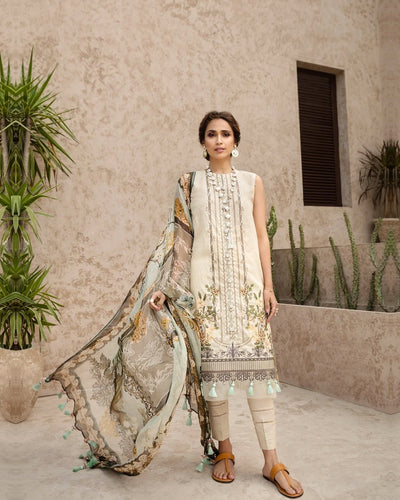Sophisticated Off White Color Jam Silk Digital Print Lawn Pakistani Suits (Made in India)