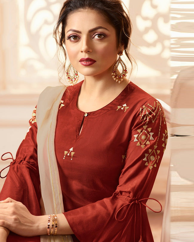 Brown Colored Partywear Pure Viscose Palazzo Suit with Dupatta