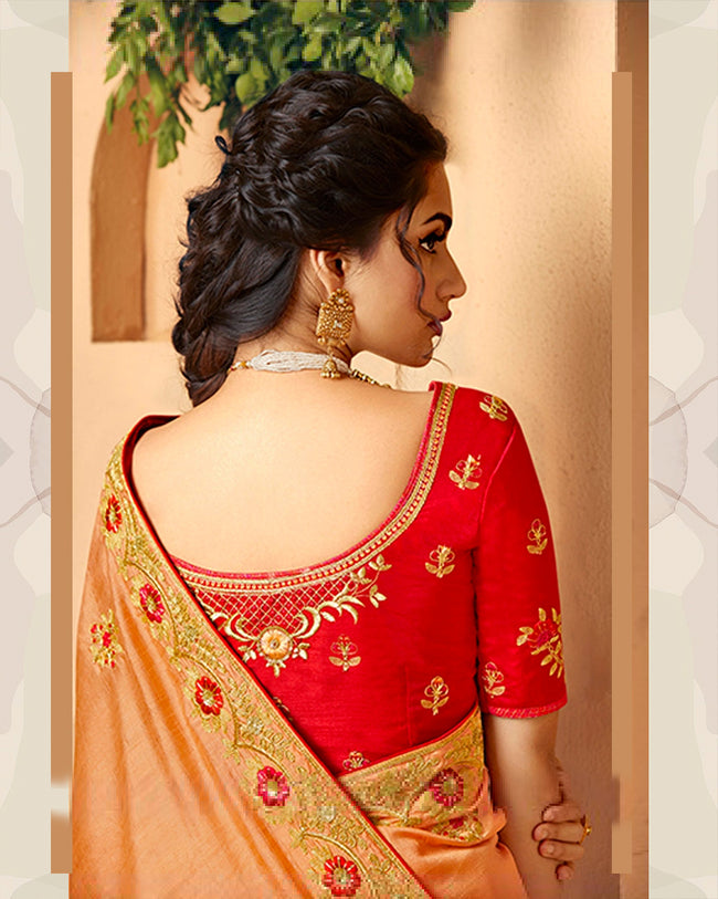 Orange and Red Color Wedding Wear Pure Dola Silk Embroidery Work Saree
