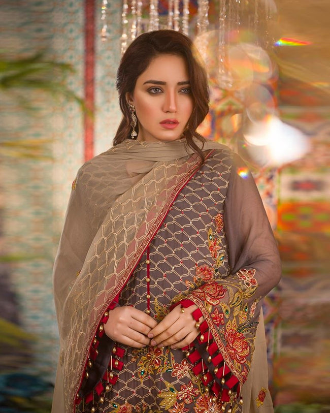 Groove Brown Color Unstitched Pakistani Palazzo Style Suits