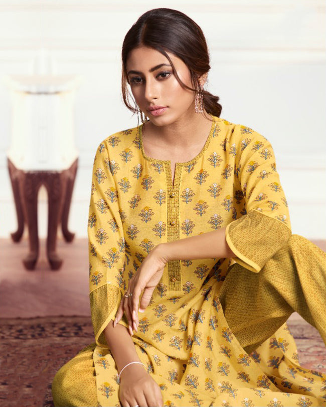 Yellow Color Festive Wear Printed Palazzo Style Suits