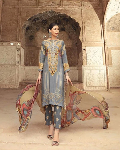 Gray Color Jam Cotton Printed Pakistani Pant Suit (Made in India)