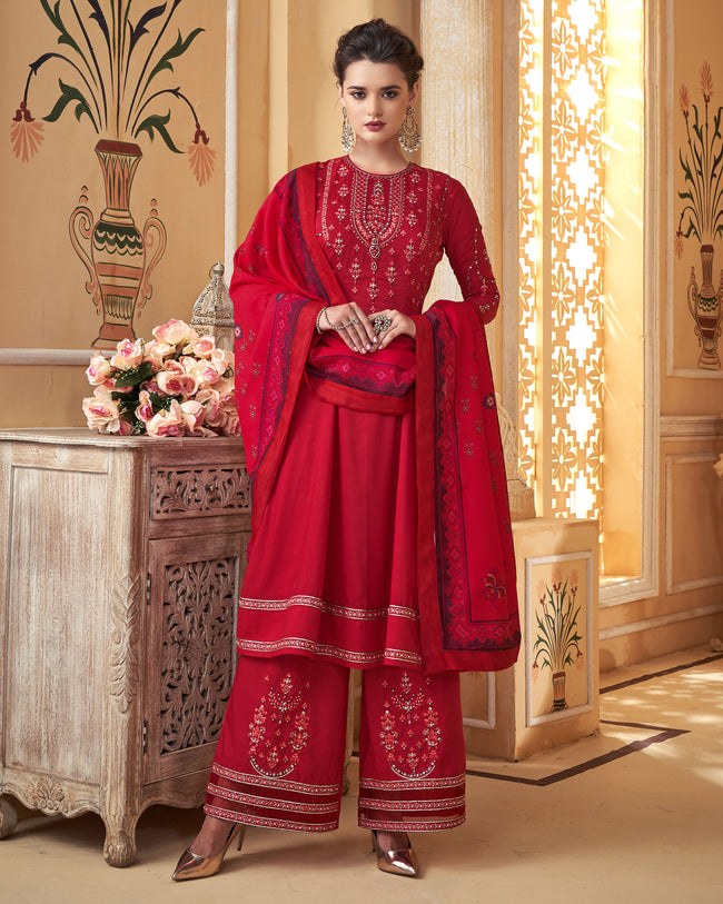 Red Colored Partywear Embroidered Muslin Palazzo Suit with  Digital Printed Dupatta