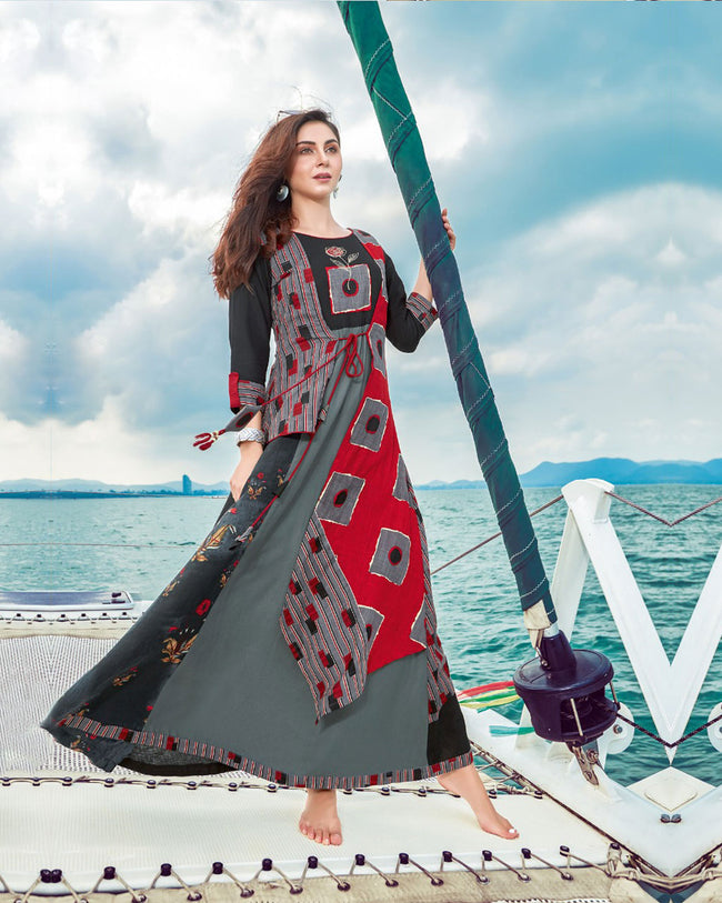 Dark Grey Colored Designer Embroidered Party Wear Rayon Kurti