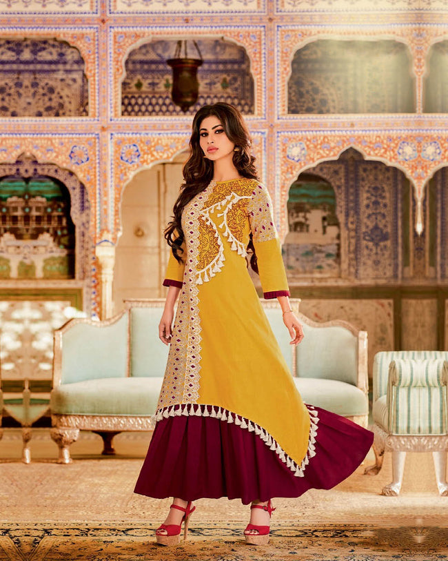 Gleaming Yellow-Maroon Colored Partywear Embroidered Long Kurti