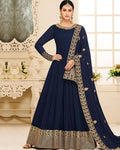 Navy Blue Color Semi-Stitched PartyWear Silk Anarkali Suit