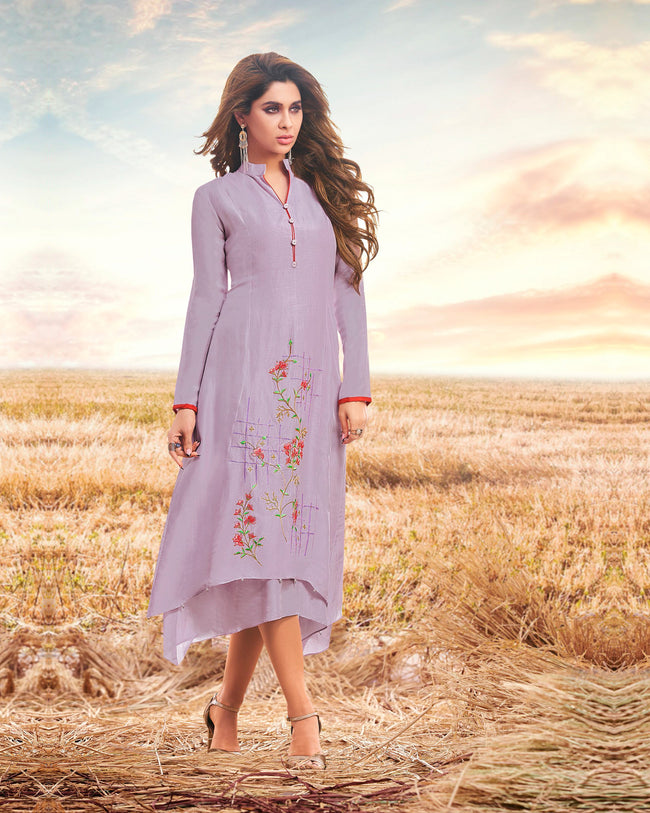 Light Purple Colored Ready to Wear Embroidered Cotton Silk Kurti