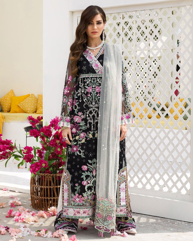 Marvellous Black Colored Netted  Heavy Embroidery Pakistani Designer Suit