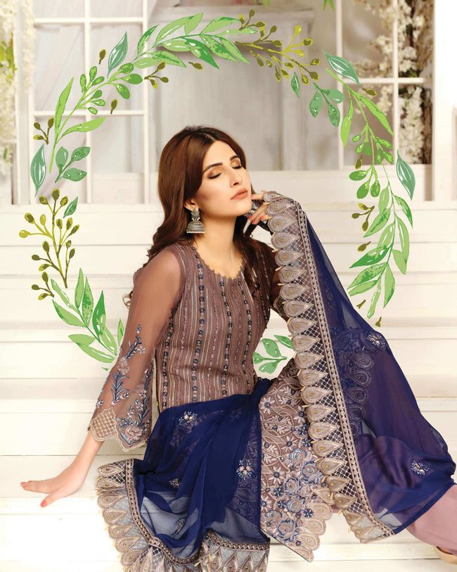 Prominent Brown Color Georgette Unstitched Pakistani Suit With Blue Dupatta