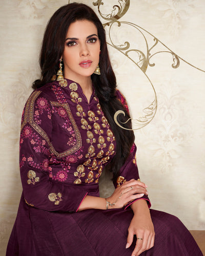 Dark Purple Colored Partywear Embroidered Silk Gown