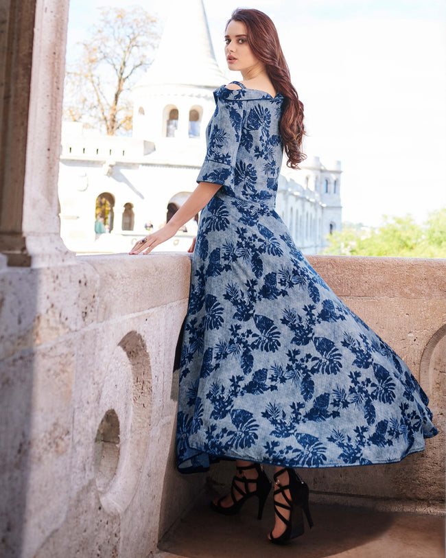 Blue Colored Partywear Printed Rayon Kurti