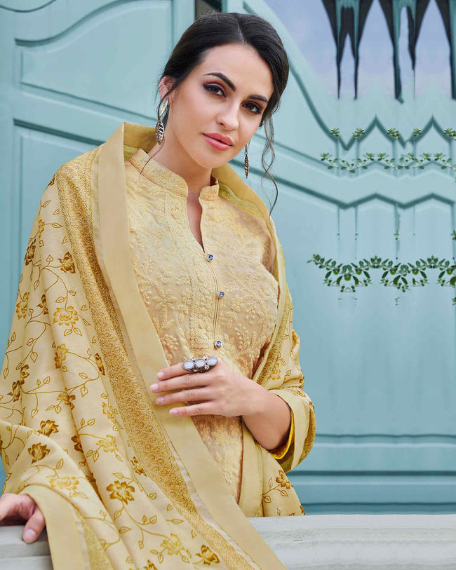 Beige Colored Partywear Embroidered Palazzo Suit with Printed Dupatta