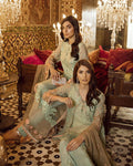 Sea Green Color Net Unstitched Designer Pakistani Suits With Beige Color Net Dupatta