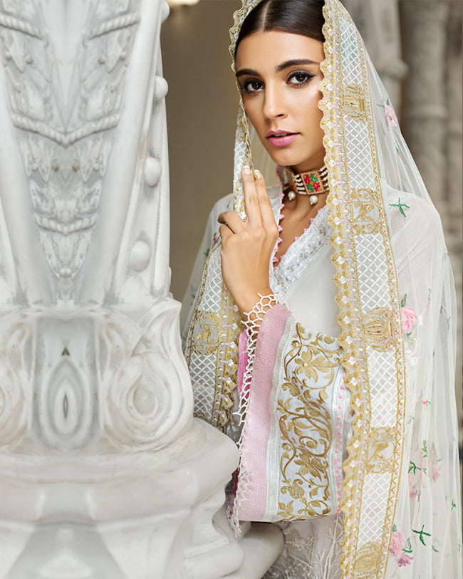Amazing White Color Summer Wear Sharara Lawn Printed Suit