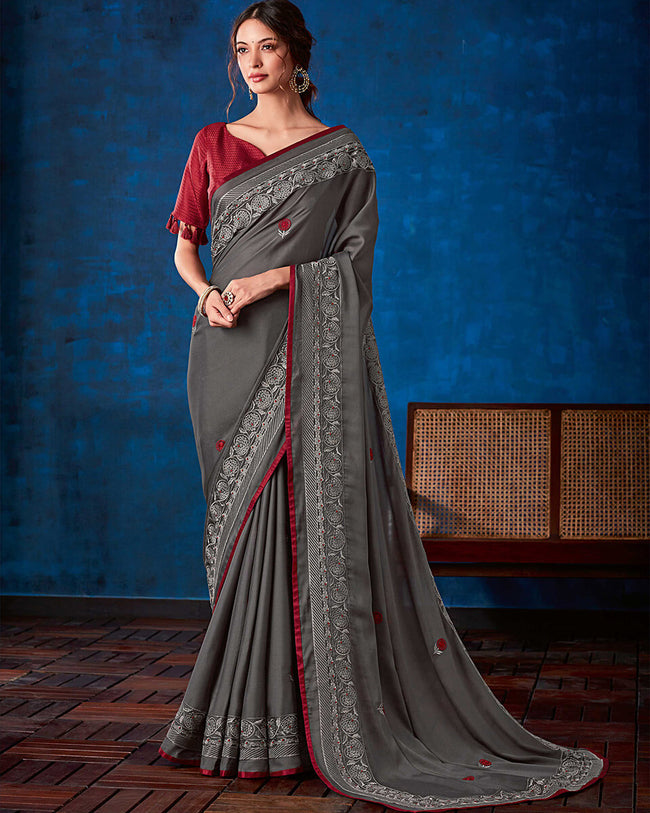 Gray-Maroon Color Fancy Georgette With Lace Border Saree