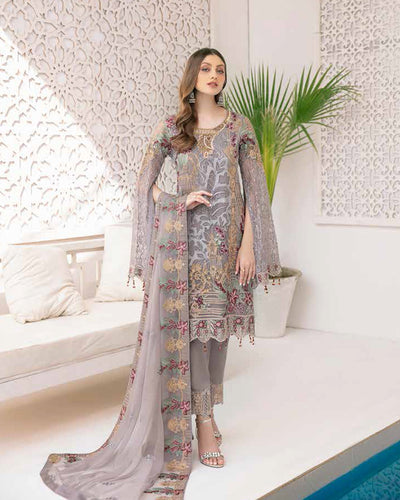 Gray Color Fox Georgette Unstitched Pakistani Salwar Kameez Suits