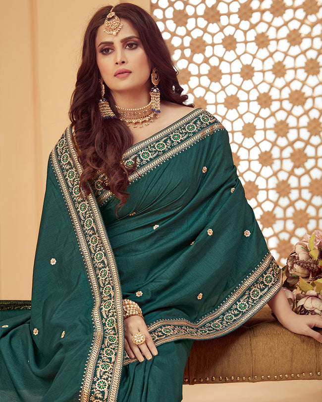 Green Color Classic Designer Golden Border Fancy Saree
