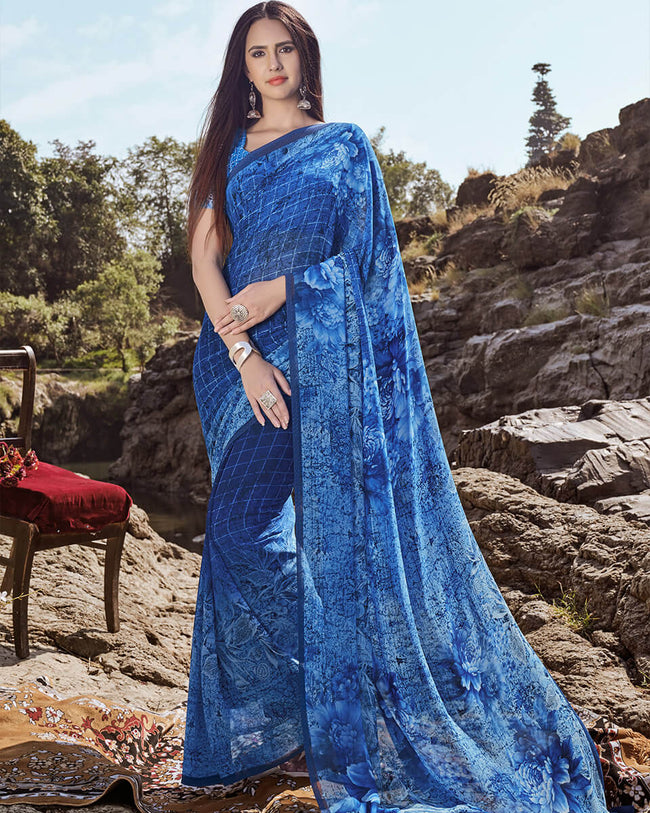 Blue Color Casual Wear Georgette Printed Saree