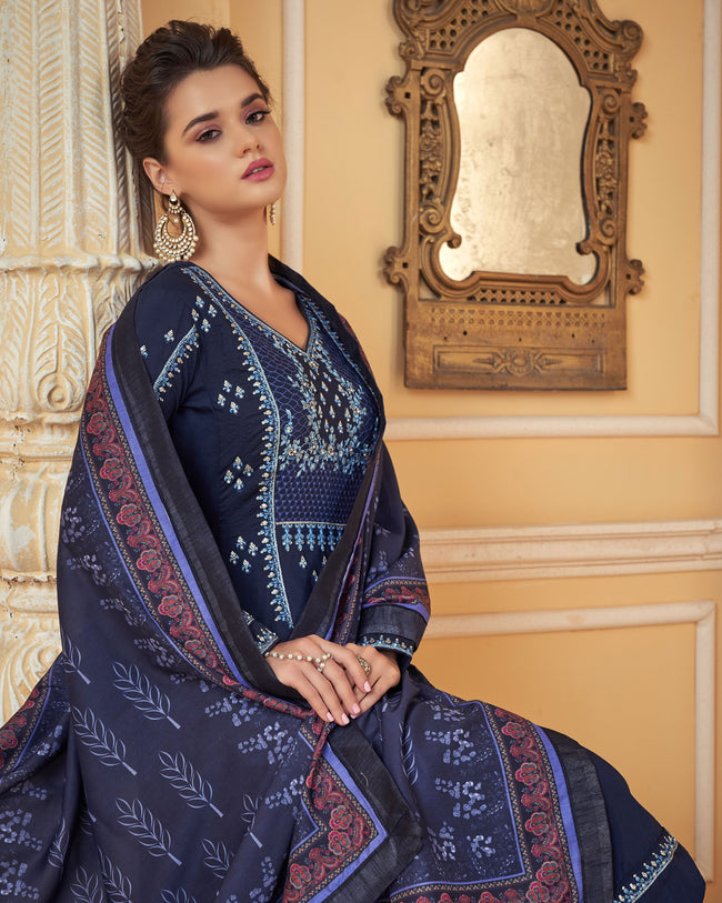 Blue Colored Partywear Embroidered Muslin Palazzo Suit with  Digital Printed Dupatta